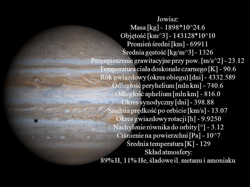 Jowisz: Masa [kg] - 1898. 10^24. 6 Objętość [km^3] - 143128